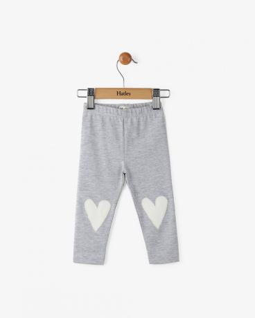 Heather Grey Glittery Hearts Baby Leggings