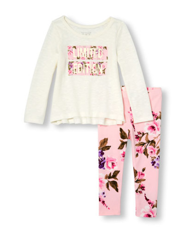 Toddler Girls Long Sleeve 'Limited Edition' Sweater-Knit Top And Floral Print Leggings Set