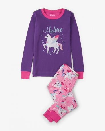 Winged Unicorns Appliqué Organic Cotton Pajama Set