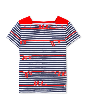 Girls' whimsical striped T-shirt