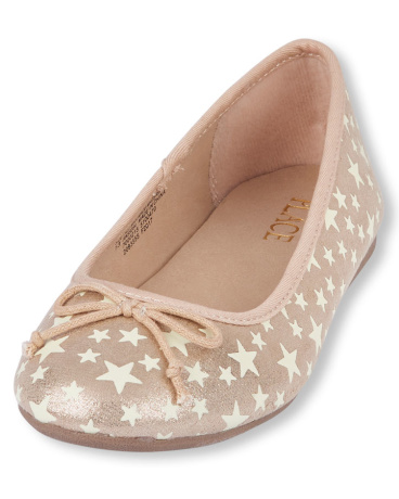 Girls Glow-In-The-Dark Star Print Audrey Flat