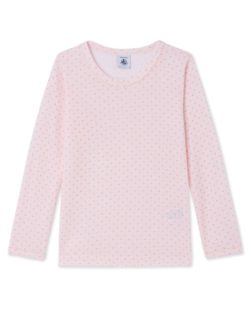 Girl's long-sleeved T-shirt in wool and cotton
