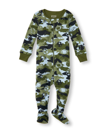 Baby And Toddler Boys Long Sleeve Sports Camo Print Footed Stretchie