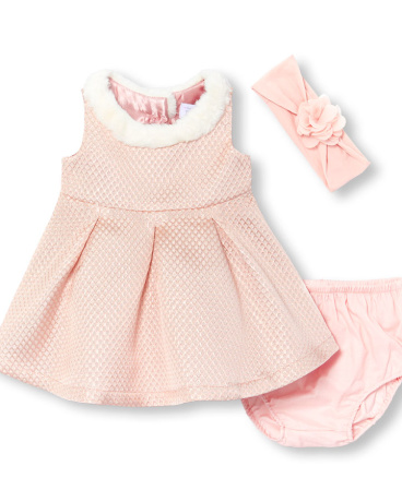 Baby Girls Sleeveless Faux Fur Metallic Jacquard Dress Flower Headwrap And Bloomers Set