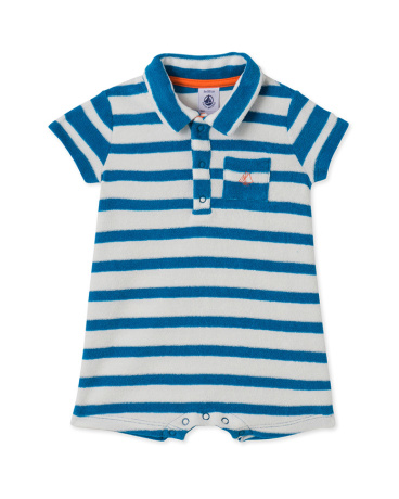 Baby boys' short dungaree in towelling