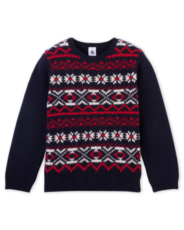 Boys' wool and cotton jacquard sweater