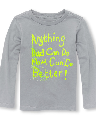 Toddler Boys Long Sleeve Neon 'Anything Dad Can Do Mom Can Do Better' Graphic Tee