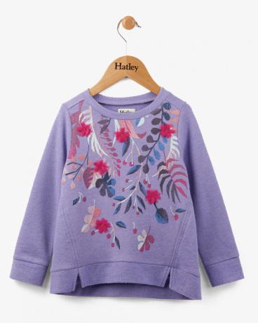 Purple Fronds Long Sleeve Pull Over