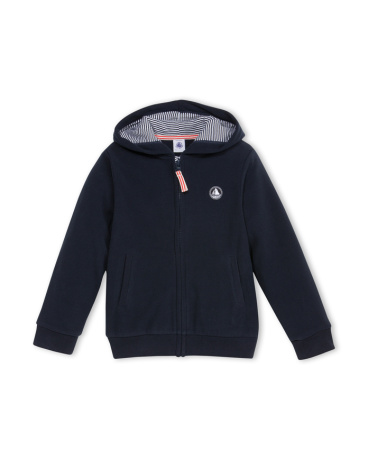 Boy's hooded micro-fleece sweatshirt.