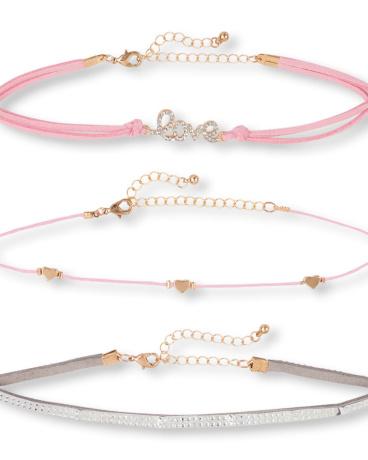 Girls Embellished 'Love' Choker Necklace 3-Pack
