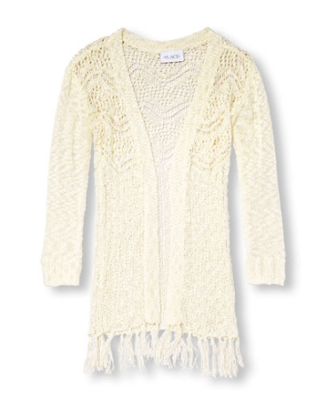 Girls Long Sleeve Crochet Fringe Cardigan