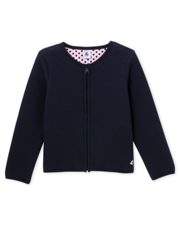 Girl's quilted tube knit teddy jacket