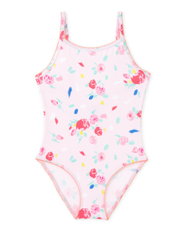 Girl's floral print one-piece swimsuit