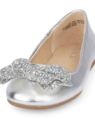 Girls Glitter Bow Kayla Ballet Flat