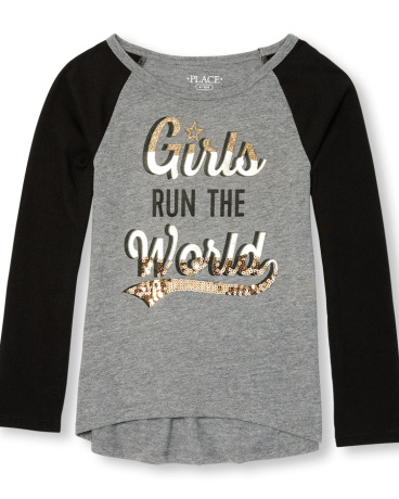 Girls Active Long Raglan Sleeve Embellished Graphic Hi-Low Top