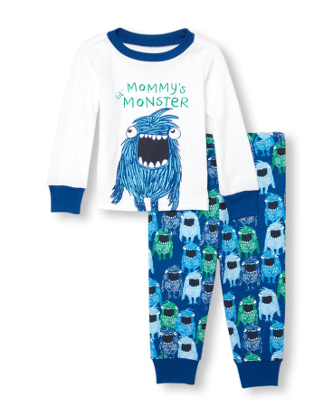 Baby And Toddler Boys Glow-In-The-Dark Long Sleeve 'Mommy's Lil Monster' Top And Printed Pants PJ Set