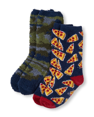 Boys Camo And Pizza Print Cozy Socks 2-Pack