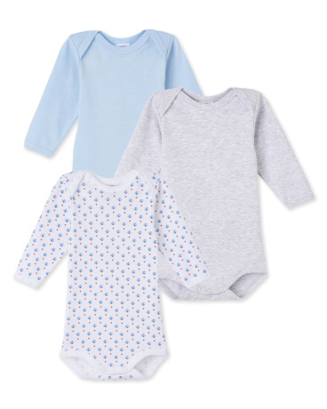 Pack of 3 baby boy long-sleeved bodysuits