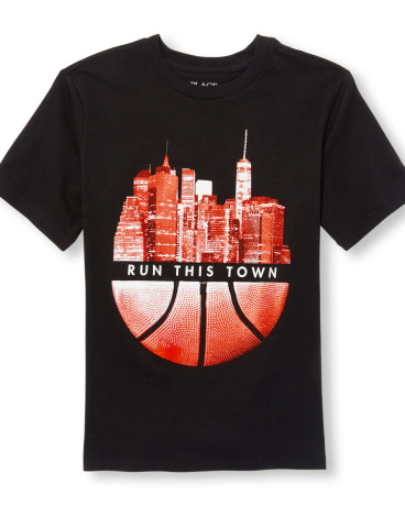 Boys Short Sleeve 'Run This Town' Basketball Graphic Tee