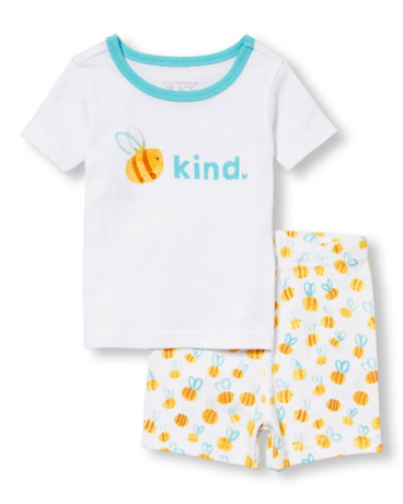 Baby And Toddler Girls Short Sleeve Bee 'Kind' Top And Bee Print Shorts PJ Set