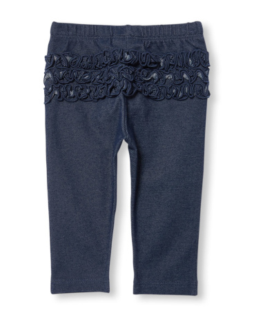 Baby Girls Ruffle-Back Knit Denim Leggings