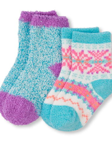 Toddler Girls Fair Isle Print And Solid Cozy socks 2-Pack