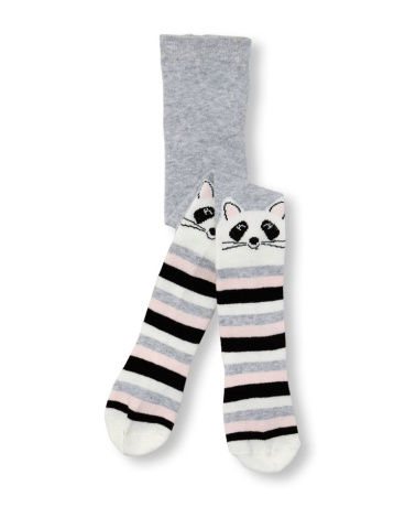 Toddler Girls Raccoon Knee Striped Tights