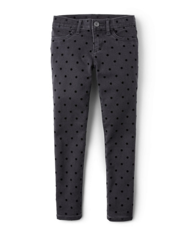 Girls Velvet Polka Dot Flocked Denim Jeggings