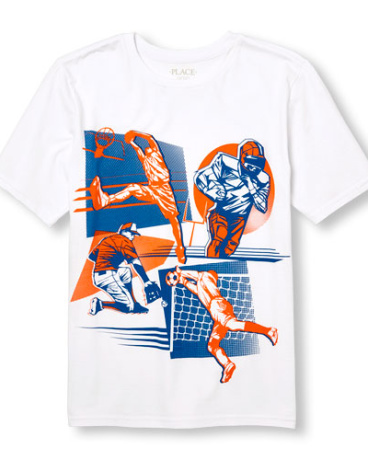 Boys Short Sleeve Neon Multi-Sports Graphic Tee