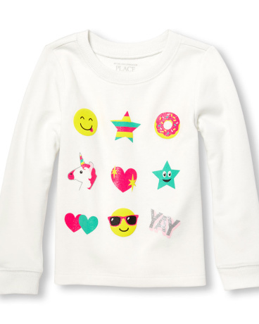 Toddler Girls Active Long Sleeve Glitter Graphic Top