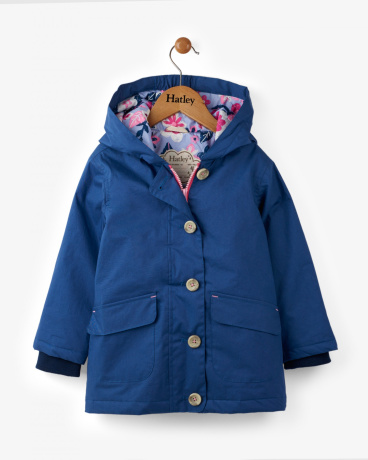 Navy Wintery Blooms Coated Cotton Raincoat