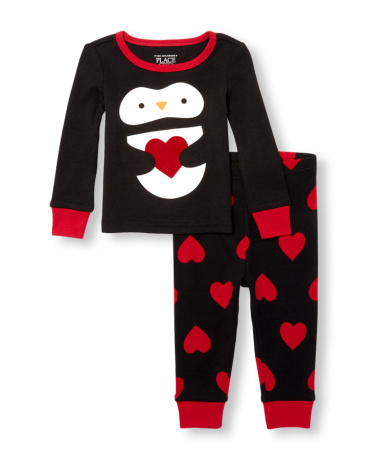Baby And Toddler Girls Long Sleeve Penguin Heart Top And Printed Pants PJ Set