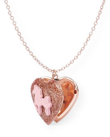 Girls Glitter Unicorn Heart Locket Necklace
