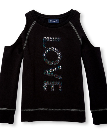 Girls Long Cold-Shoulder Embellished Graphic Fleece-Lined Pullover