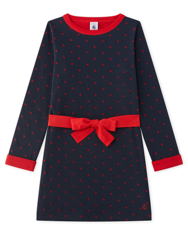 Girl's double knit dress with jacquard hearts