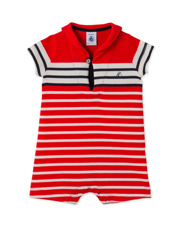 Baby boys' short dungaree with a striped sailor collar