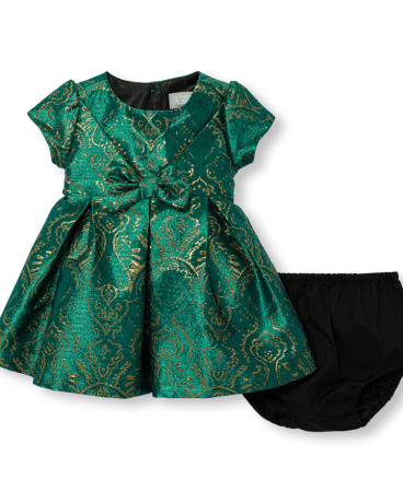 Baby Girls Short Sleeve Emerald Jacquard Dress Flower Headwrap And Bloomers Set