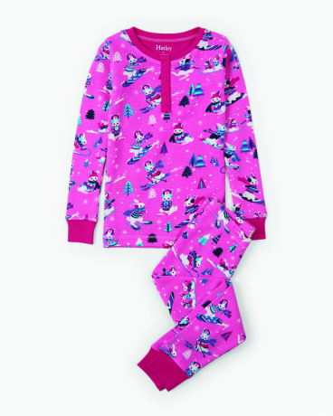 Winter Sports Bunnies Waffle Henley Organic Cotton Pajama Set