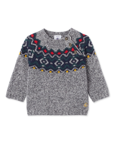 Baby boy's jacquard pullover in a wool blend