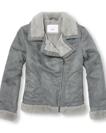 Girls Long Sleeve Full Zip Faux Suede Jacket