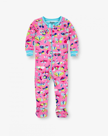 Pretty Butterflies Organic Cotton Baby Footed Coverall
