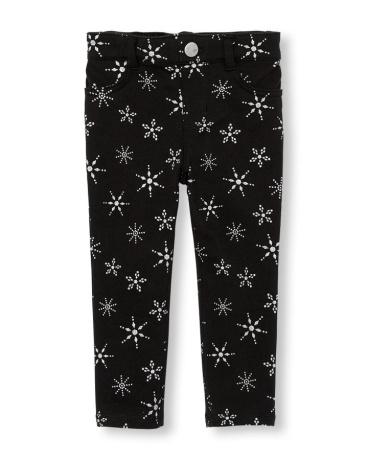 Toddler Girls Glitter Snowflake Print Knit Jeggings