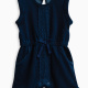 Baby Girl Indigo Brushed French Terry Romper with Lace