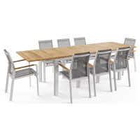 Malibu 8 Seater Teak Outdoor Dining Set with Extendable Table