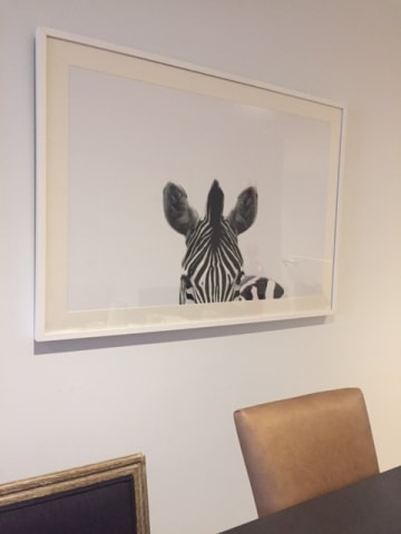 The zebra print large white wood frame 01