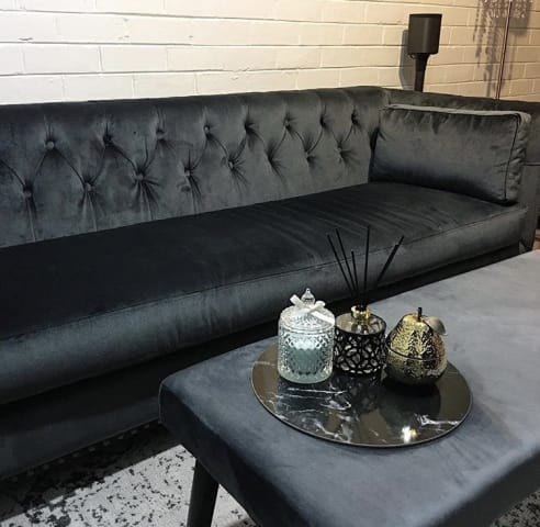 Florence velvet chesterfield 3 seater sofa cosmic anthracite 09