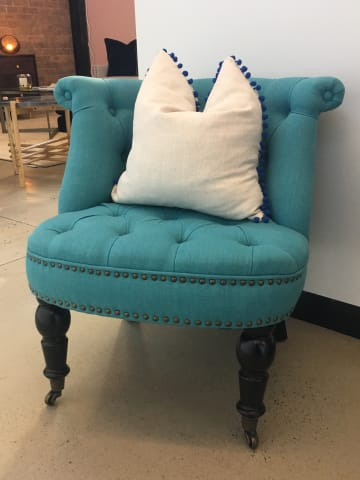 Helene accent chair petal turquoise w black solid beech 03