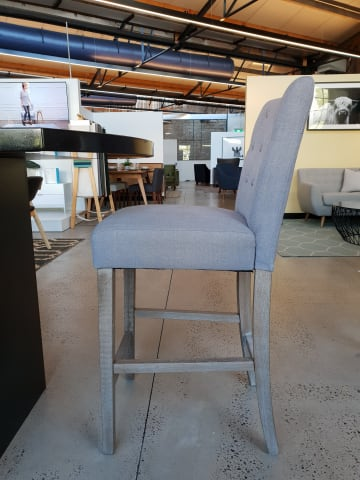 Espen bar stool stone grey w wire brushed solid beech 01