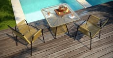 Lanzarote 5 Piece Outdoor Setting 4x Dining Chair with Dining Table