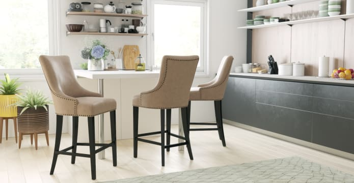 Zoe Leather Bar Stool Low